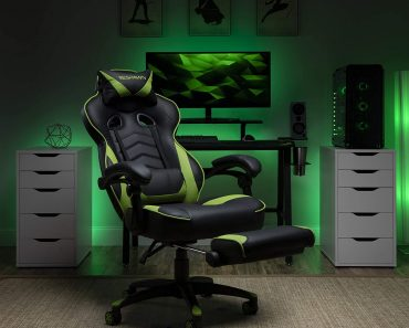 Green Gaming Chair with Footrest